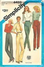Vintage 1983 Simplicity 6433 Sewing Pattern: Misses' Pants Factory Folded Uncut