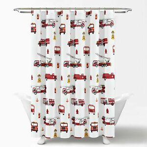 Make A Wish Fire Truck Shower Curtain Red/Gray Single