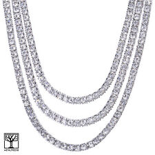 "Iced Out Triple Silver Plated Short Tennis Chain Necklace SET 16"" / 20"" / 22"""