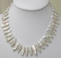 """Fashion natural baroque pearl Gold-plated beads 18"""" necklace + silver clasp"""
