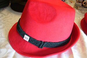 NEW! size S.German Bavarian Alpine RED Fedora,Trilby Hat Oktoberfest,Alpine