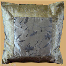GRAY SILK EMBROIDERY BROCADE PILLOW COVER/CUSHION COVER FROM INDIA!!