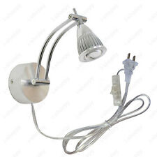3W LED Wall Sconces Picture Light Fixture on/off Button Plug-in Lamp Adjustable