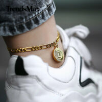 Gold Plated Letter A-Z Charm Foot Anklet Bracelet Stainless Steel Figaro Chain