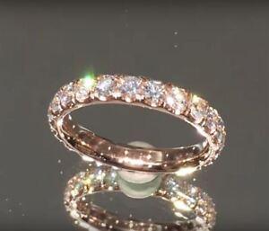 2.25ct 3mm Round Sparkle Moissanite Eternity Band Engagement Ring 14k Rose Gold