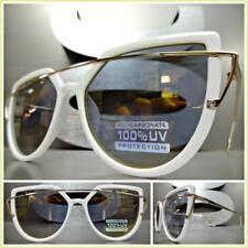 Classy Elegant Funky RETRO Cat Eye Style SUNGLASSES Unique White Frame Gold Lens