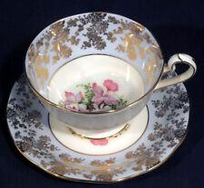 Queen Anne Bone China Light Blue Gold Decor Pink Flower Tea Cup and + Saucer Set