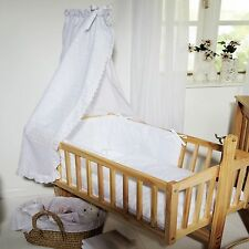 NEW CLAIR DE LUNE WHITE BRODERIE ANGLAISE ROCKING CRIB CRADLE DRAPE BEDDING SET