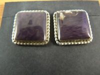 Native American Sterling Silver/Fluorite Earrings (E175)