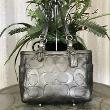Coach Signature Embossed Leather Tote F15242 Gunmetal Gray