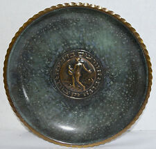 Vtg Pal Bell Sower Bronze Green Enamel Wall Art Plate Maurice Ascalon Israel 50s