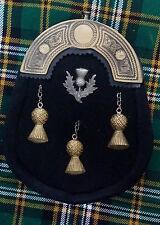 Men's Full Dress Kilt Sporran Black Bovine Celtic Cantle Antique/Thistle Sporran