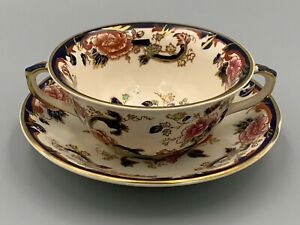 Masons Ironstone Mandalay Blue - Handled Soup Cup and Stand.