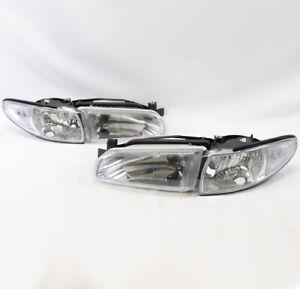 FOR 97-03 PONTIAC GRAND PRIX HEADLIGHTS LAMPS+CORNER CHROME 99 00 01 02 USED