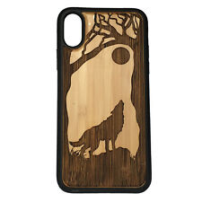 Wolf Case made for iPhone X phones Bamboo Wood Cover + TPU Wrapped Edg