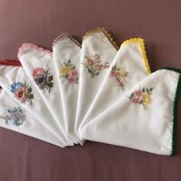 Handmade Embroidered Handkerchief Large 100% Cotton Beautiful Floral Vintage