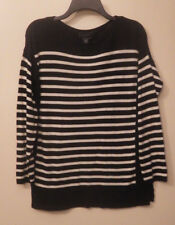 Chaps Black & Cream Stripe Women's Long Sleeve Ltwt. Sweater Top Size Medium