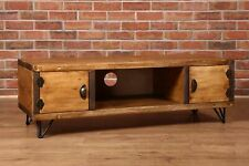 Country Rustic Vintage TV Unit Sideboard Chunky Handmade Solid Wood Cupboard
