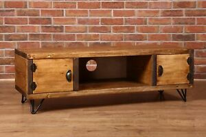 Country Rustic Vintage TV Unit Sideboard Chunky Handmade Solid Wood Cupboard
