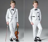 White 3 Piece Wedding Groom Tuxedos Flower Boys Children Formal Prom Party Suits