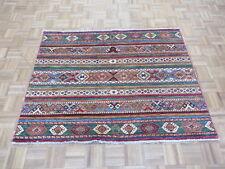 4'2 X 5'4 Hand Knotted Multi Color Super Kazak Khorjin Oriental Rug G5666