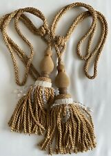 "Designer Curtain Tiebacks Pair Rope Tassels 37"" embrace Beige Cream Glass Beads"