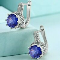 18K White Gold Filled 1.0 Ct Blue Sapphire Pave Halo Leverback Earring ITALY