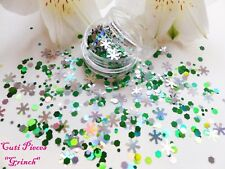 Nail Art Holographic Chunky Xmas *Grinch* Snowflake Hex Glitter Spangle Mix Pot