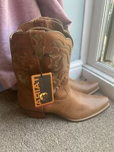 Ariat New Cowboy Style Boots Lovely Quality Ladies 8.5 Brown Tan