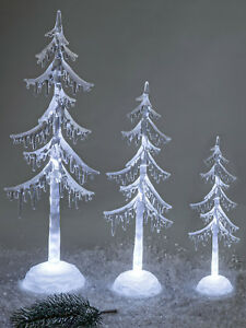 Weihnachten Weihnachtsbaum Tannenbaum Acryl beleuchtet Schnee mit Timer 3 Höhen