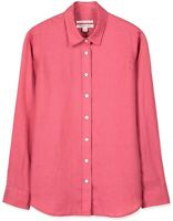 Trenery Ladies XXS 6 Linen Fitted Button Up Shirt Top Dark Pink Like New $129