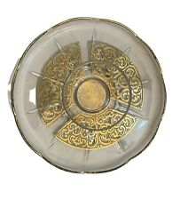 Georges Briard Snack Plate With Dip Bowl Attached 11� Signed Gold Trimmed