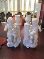 PARIAN BISQUE FIGURINE PAIR OF ANGELS CHERUBS WITH BIRD CANDLE HOLDERS 9""