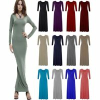 Ladies Plain Flared Stretchy Maxi Dress Womens Long Sleeve Long Jersey Dress