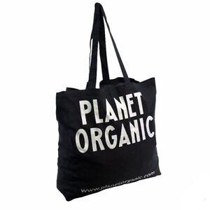 PLANET ORGANIC - LONDON Large Shopping Tote Bag 100% Cotton Reusable Black NEW🌍