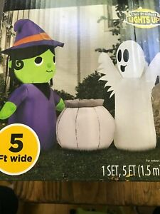Halloween Purple Witch & Ghost Scene 5 Ft Wide Airblown Inflatable Gemmy RARE