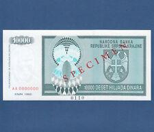 CROATIA / Krajina 10000 Dinara 1992 Specimen UNC  P. R7s