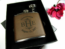 Custom Engraved Leather Flask Personalized Groomsmen Gift Box Funnel Monogram