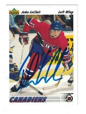 JOHN LECLAIR AUTOGRAPH 1992 UD ROOKIE HOCKEY CARD SIGNED MONTREAL CANADIANS