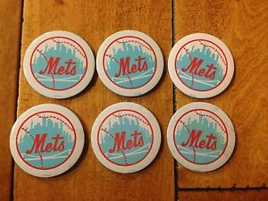 (6) VINTAGE NEW YORK METS BUTTONS PINS NOVELTY 1970'S