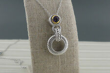 Amethyst Made in Ireland by Fado Sterling Silver Inis Aran Stitch Pendant with
