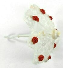 """Vintage Doll Umbrella White Floral Lace w/Stand out Red Roses 7"""" Long Works!"""