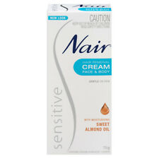 NAIR SENSITIVE HAIR REMOVAL CREAM 75G FACE & BODY GENTLE ON SKIN ALMOND OIL