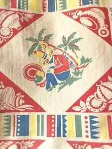 Vintage 1950s kitchen curtains Mexican theme print