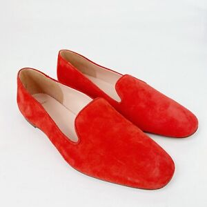 J. Crew Womens Loafers 8 Red Suede Leather Slip On Smoking Slippers Shoes Solid