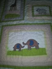 Pottery Barn Baby Quilted blanket with matching mini pillow cover Zoo animals.