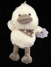 Doudou Peluche Oiseau Canard Poussin écru blanc gris Nicotoy Simba Foulard pois