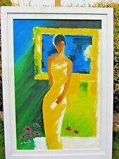 Large Oil on Canvas, Lady in Yellow. Signed by Artist