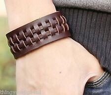 Cuir Véritable Marron Tissage Bracelet Bracelet Bracelet Manchette Steampunk A42