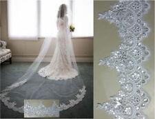 Sequins Lace Edge Sequins Bridal Long Veil Cathedral Wedding Bridal Comb Veil AA
